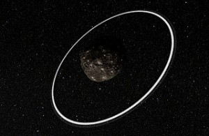 asteroid with ice rings