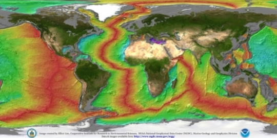 relative sea floor age map